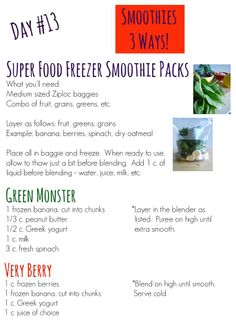 Day #13 - Smoothies!  Super Food Freezer Smoothie Packs, Green Monster & Very Berry  www.facebook.com/sweetsavoryeats