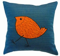 bedrooms with teal and orange | This one is a total fun! The walking bird is adorable!