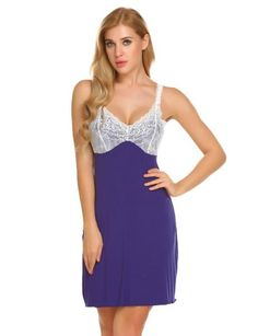 a35e607798 Avidlove Cotton Nightgown Night Dress Women Sexy V-Neck Lace Sleepwear  Nightwear Short Mini Nightdress Sleepshirt Nighty Red