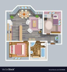 Buy Architectural Flat Plan Top View by macrovector on GraphicRiver. Architectural flat plan top view with living rooms bathroom kitchen and lounge furniture vector illustration. Sims 4 House Plans, Sims 4 House Building, Building Plans, Sims 2 House, Sims 4 Houses Layout, House Layouts, Tiny House Layout, Plans Architecture, Architecture Design