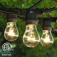 48 ft Black Commercial Medium String Light & A15 Clear Bulbs