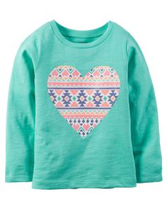 Toddler Girl Long-Sleeve Geo Print Heart Graphic Tee from Carters.com. Shop clothing & accessories from a trusted name in kids, toddlers, and baby clothes.