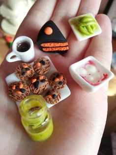 Miniature sculpey polymer clay fimo Halloween food