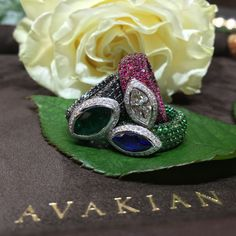 Meaning 'hidden' in French, these Caché rings by Avakian are fully pavéd on the inside of the shank, for that hidden glamour and playful style. They come in a variety of gemstones and colours. Discover the jewellery house from Geneva putting a playful spin on fashion: http://www.thejewelleryeditor.com/videos/fine-jewellery/house-of-fun-avakian-the-most-playful-jeweller-in-geneva/?action=play #jewelry
