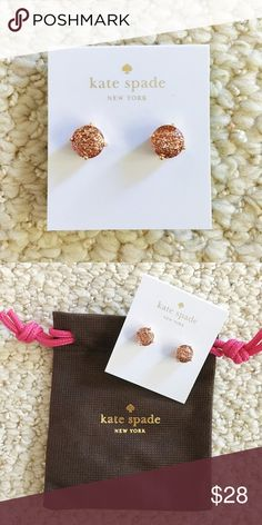 Kate Spade Rose Gold Glitter Gumdrop earrings Gorgeous Kate Spade rose gold glitter gumdrop studs earrings! 14k gold plated. These are the small gumdrop earrings. Brand new! No trades or low ball offers please kate spade Jewelry Earrings