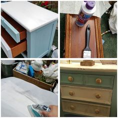 Oak dresser got a make over. I decided to place white paint on the top. Light Blue on the sides and the drawers 1 blue 1 white and 1 with tissue paper I found at hobby lobby with faded writing.  I found the knobs at Home Goods. I am very happy with the new look.