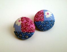 Floral tri color blocked lavender pink blue button earrings. $6.00, via Etsy.