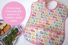 Free baby bib sewing pattern -- cute extra long style for toddler-sized spills