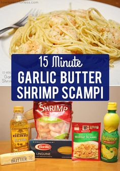 15 Minute Garlic Butter Shrimp Scampi - Fast and Easy Recipe This quick and easy homemade recipe is perfect for your family! This delicious Garlic Butter Shrimp Scampi only takes 15 minutes from prep to plate! Seafood Dishes, Pasta Dishes, Seafood Recipes, Cooking Recipes, What's Cooking, Easy Shrimp Recipes, Shrimp Dinner Recipes, Amish Recipes, Dutch Recipes