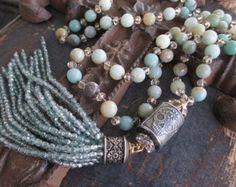 Cukr lebka vázané střapec náhrdelník - Skyfall - zemitý blankytně modrá béžová…