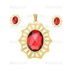 juego colgante&aretes de cristal rojo en acero dorado inoxidable para mujer -SSSTG054476