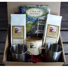 All the essentials for a make it at home Michie Tavern experience. VA peanuts for snacking, Chicken Breader, Biscuit Mix and a cookbook for meal prep and two stainless steel mugs to drink from. Almost as good as being here! $45.00  #giftbox www.shopmichietavern.com