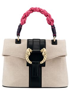 Bvlgari Leoni Handbag - natural chevron canvas fabric and black calf leather  with antique gold plated hardware. 8b6702ad769cb