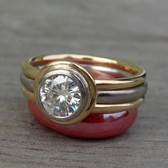 Forever Brilliant Moissanite, Recycled 14k Yellow Gold, and Recycled 950 Palladium Engagement Ring and Wedding Bands - Diamond Alternative on Etsy, $1,788.00