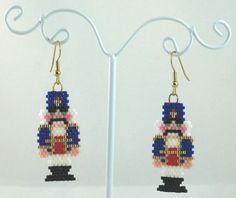 Traditional Nutcracker Beaded Earrings Christmas by LazyRose