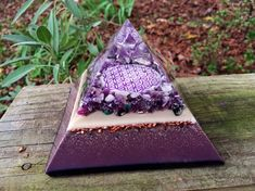 Orgonite Pyramid - VIOLET FLAME - Amethyst, Sugilite, Scolecite, Stitchtite, Selenite, Lepidolite, Nuummite, Copper, Niobium by 432oneness on Etsy