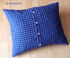 Kissenhülle aus altem Hemd / Pillowcase made from old shirt / Upcycling