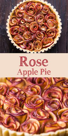 Rose apple pie is a pretty dessert to try for fall seasons. Although the rose comes from the presentation and not the flavor, it is so beautiful. Baked Apple Dessert, Apple Desserts, Easy Desserts, Delicious Desserts, Yummy Food, Apple Pie Recipes, Tart Recipes, Baking Recipes, Fall Dessert Recipes