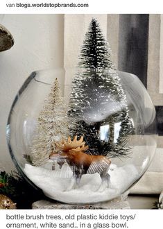 Omit largest tree.  Kid toy deer, moose, elk (or tree ornaments of the same). White sand.  Clear glass bowl