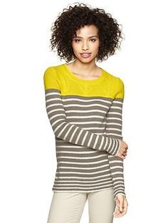 Love the color and neutral stripes. Inspiration for a new sweater pattern? ...Colorblock stripe sweater | Gap