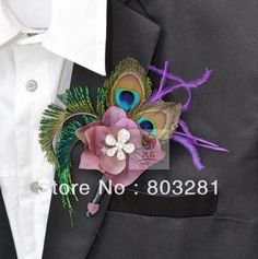 10 pcs/lot feather boutonnieres for peacock themed wedding and purple elegance bridal bouquet accessories € 70,11