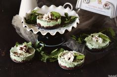 Old School Grasshopper Pie- love how she made these in mini pans- great idea! @ Pass the Sushi