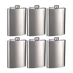 Amazon.com | Top Shelf Flasks Stainless Steel Hip Flasks, 8 oz, Set of 6: Flasks