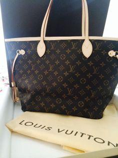 b268e34de97d Hot stamped Louis Vuitton Neverfull Bag in Damier Ebene