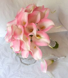 Pink Calla lily wedding bouquet simple by ChurchMouseCreations