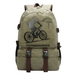 Vintage-Style Cycling Print Casual Canvas Large-Capacity Backpack 4 Colors