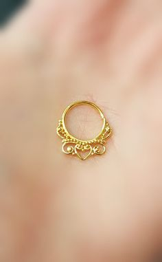 "14k Gold Plated Sterling Silver Septum Clicker Cartilage Jewelry Captive Hoop 18g 7/16"" Daith Piercing Earring Ring Nose Filigree Victorian"