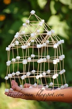 one of the most fun things we did at camp last year. we had a contest to see who could build the coolest thing with marshmallows and toothpicks.