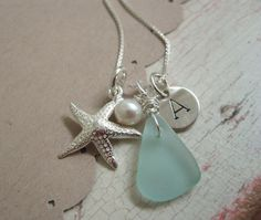 Starfish, sea glass & an initial.