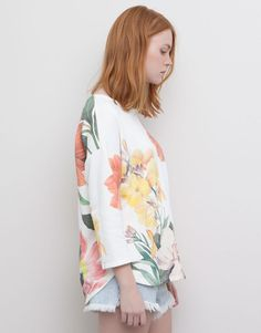 Pull&Bear - dames - tropical - sweatshirt met bloemenprint - naturel - 05590394-V2015