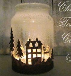 Winter themed mason jar lantern // Téli hangulatú lámpás befőttesüvegből // Mindy - craft tutorial collection // #crafts #DIY #craftTutorial #tutorial #ChristmasCrafts #Christmas