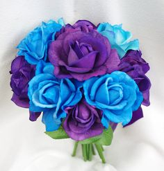 Wedding Deep Purple and Aruba Blue Natural Touch Roses by Wedideas, $65.00