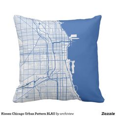 Kissen Chicago Urban Pattern BLAU