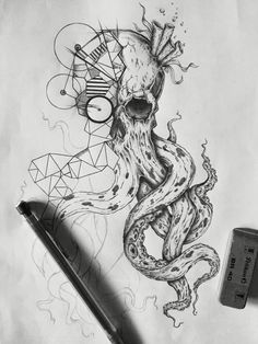 #sketch #tattoo #skull #kraken #drawing #black&white