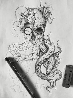 #sketch #tattoo #skull #kraken #drawing #black&white