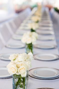 tablescape with simple white roses