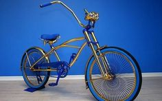 If you have penchant for gilded wheels, this Swarovski-studded bike with gold embroidery is a perfect ride for you this Christmas. The gilded gelem sample lowrider bike is the… Lowrider Bike, Unique Gadgets, Cruiser Bicycle, Chopper Bike, Custom Choppers, Bicycle Accessories, Small Cars, Bike Trails, Vintage Bicycles