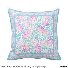 Throw Pillow, Cushion Pink Roses White Butterflies Throw Pillow