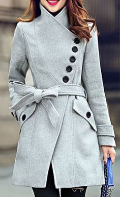 Elegant Stand Collar Candy Color Belt Design Long Sleeve Coat For Women #Chic #Winter #Coat #Fashion
