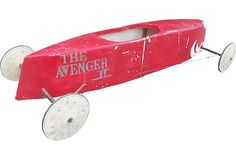 My darling nephew is a soapbox racing King! Check out this cool Soap Box Derby Race Car