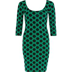 Green and black polka dot ballerina dress $36.00