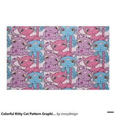 Colorful Kitty Cat Pattern Graphic Design Fabric