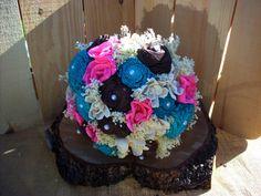 Rustic bridal bouquet sola flower bouquet by LittleBlueBirdSays