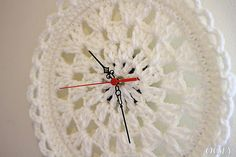 clock cream baby lace chrochet doily clock for home round by ooty, $35.00