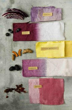 een warm plantenpalet - Home Decorating Ideas Fabric Dyeing Techniques, Textiles Techniques, Fabric Painting, Fabric Art, Tinta Natural, Natural Dye Fabric, Natural Dyeing, Textile Dyeing, Dyeing Fabric