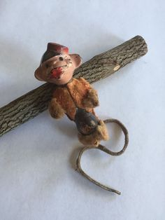 """Antique Vintage Mohair Celluloid Jointed Bellhop Monkey Miniature Doll Toy 3"""" 